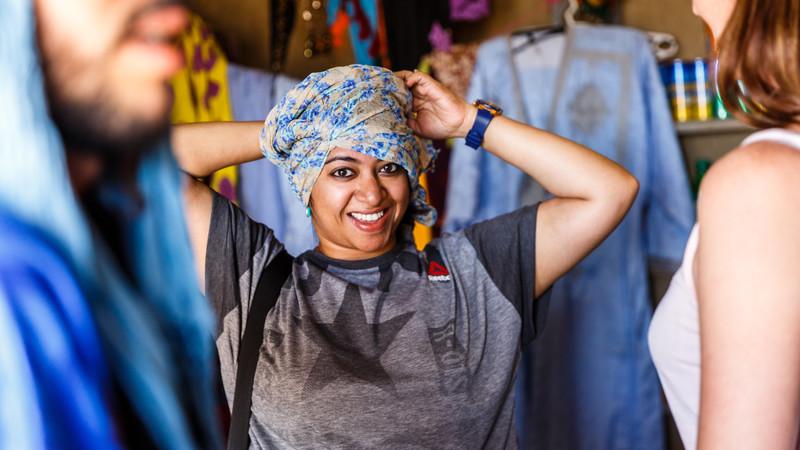 women wearing a head scarf